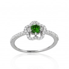 Wholesale Sterling Silver 925 Rhodium Plated Clover Micropave Ring with Green Center CZ and Clear Round CZ - BGR01120GRN
