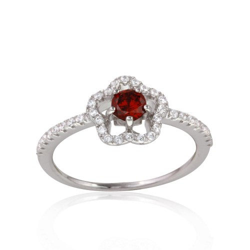 Wholesale Sterling Silver 925 Rhodium Plated Clover Micropave Ring with Red Center CZ and Clear Round CZ - BGR01120RED