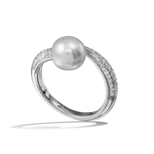 Wholesale Sterling Silver 925 Rhodium Plated CZ Fresh Water Pearl Center Ring - BGR01124