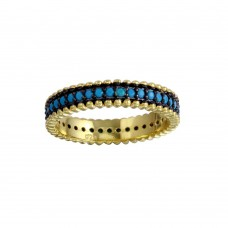 Sterling Silver Gold Plated Turquoise Stone Band - BGR01125