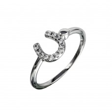Sterling Silver Rhodium Plated CZ Encrusted Horse Shoe Ring - BGR01130