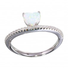 Wholesale Sterling Silver 925 Rhodium Plated Semi Eternity Band with Opal Heart Ring - BGR01134