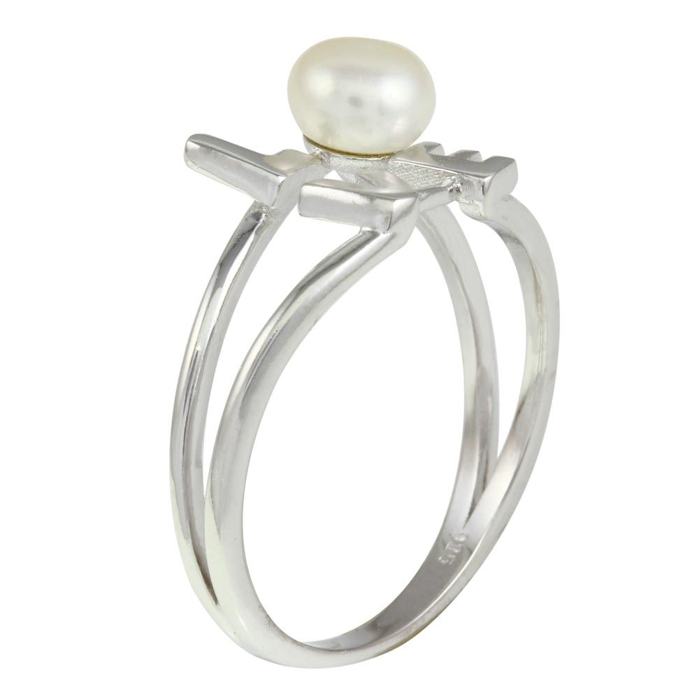 Wholesale Sterling Silver 925 Rhodium Plated Love Word Ring with Synthetic Pearl - BGR01136