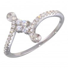 Wholesale Sterling Silver 925 Rhodium Plated Elegant CZ Ring - BGR01137