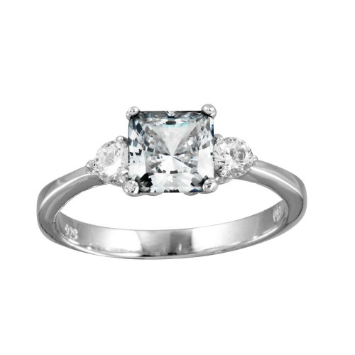 Wholesale Sterling Silver 925 Rhodium Clear CZ Center Stone Ring - BGR01138CLR