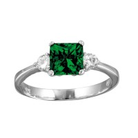 Wholesale Sterling Silver 925 Rhodium Plated Green CZ Center Stone Ring - BGR01138GRN
