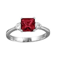 Wholesale Sterling Silver 925 Rhodium Plated Red CZ Center Stone Ring - BGR01138RED