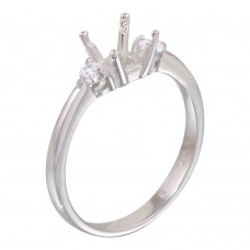 Wholesale Sterling Silver 925 Rhodium Plated Center Mounting Only Ring with CZ - BGR01138