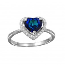 Wholesale Sterling Silver 925 Rhodium Plated Blue Halo Heart Ring - BGR01139BLU