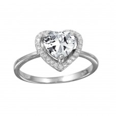 Wholesale Sterling Silver 925 Rhodium Plated Clear Halo Heart Ring - BGR01139CLR