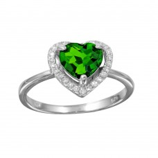 Wholesale Sterling Silver 925 Rhodium Plated Green Halo Heart Ring - BGR01139GRN
