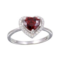 Wholesale Sterling Silver 925 Rhodium Plated Red Halo Heart Ring - BGR01139RED