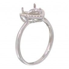 Wholesale Sterling Silver 925 Rhodium Plated Center Heart Mounting Only Ring with CZ - BGR01139