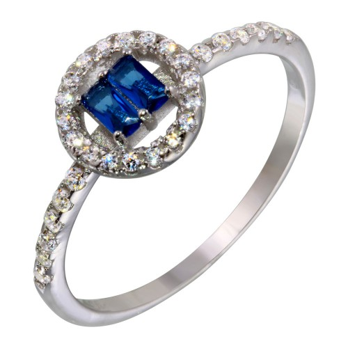 Wholesale Sterling Silver 925 Rhodium Plated Blue Stone with CZ - BGR01140BLU