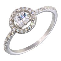 Wholesale Sterling Silver 925 Rhodium Plated Clear Stone Ring with CZ - BGR01140CLR