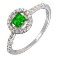 Wholesale Sterling Silver 925 Rhodium Plated Green Stone Ring with CZ - BGR01140GRN