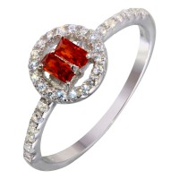 Wholesale Sterling Silver 925 Rhodium Plated Red Stone Ring with CZ - BGR01140RED