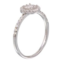 Wholesale Sterling Silver 925 Rhodium Plated Center Circle Mounting Only Ring with CZ - BGR01140