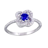 Wholesale Sterling Silver 925 Rhodium Plated CZ Knot Blue Center Stone Ring - BGR01141BLU