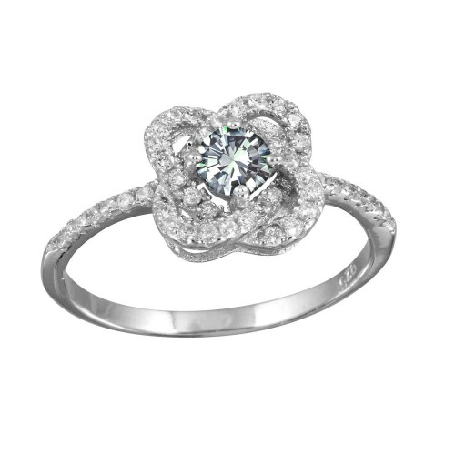 Wholesale Sterling Silver 925 Rhodium Plated CZ Knot Clear Center Stone Ring - BGR01141CLR