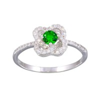Wholesale Sterling Silver 925 Rhodium Plated CZ Knot Green Center Stone Ring - BGR01141GRN