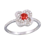 Wholesale Sterling Silver 925 Rhodium Plated CZ Knot Red Center Stone Ring - BGR01141RED