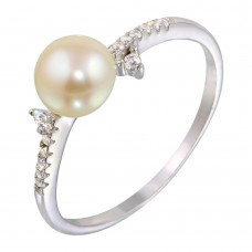 Wholesale Sterling Silver 925 Rhodium Plated White Pearl Ring with CZ - BGR01142