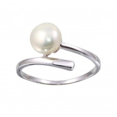 Sterling Silver Rhodium Plated Fresh Water Pearl Center Ring - BGR01143