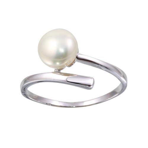 Wholesale Sterling Silver 925 Rhodium Plated Fresh Water Pearl Center Ring - BGR01143