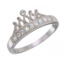 Wholesale Sterling Silver 925 Rhodium Plated Tiara Ring with CZ - BGR01144
