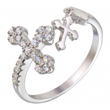 Wholesale Sterling Silver 925 Rhodium Plated Open End Cross Ring with CZ - BGR01145