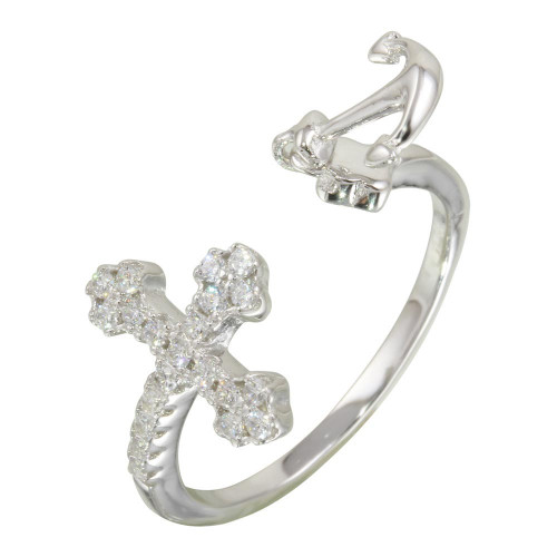 Wholesale Sterling Silver 925 Rhodium Plated Open Cross and Anchor Ring with CZ - BGR01146