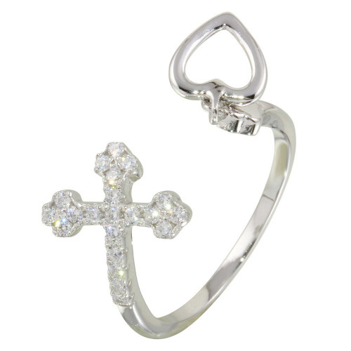 Wholesale Sterling Silver 925 Rhodium Plated Open Heart and Cross Ring with CZ - BGR01147