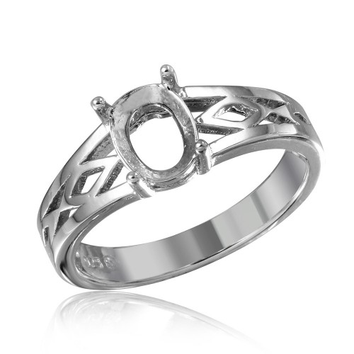 Wholesale Sterling Silver 925 Rhodium Plated Cut Out Designed Shank Single Stone Mounting Ring - BGR01194