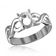 Wholesale Sterling Silver 925 Rhodium Plated Open Overlap Shank Oval Stone Mounting Ring - BGR01195