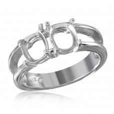 Wholesale Sterling Silver 925 Rhodium Plated Open Shank 2 Stones Mounting Ring - BGR01196