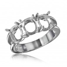 Wholesale Sterling Silver 925 Rhodium Plated Open Shank 3 Stones Mounting Ring - BGR01197