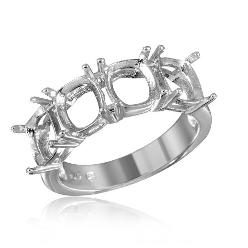 Wholesale Sterling Silver 925 Rhodium Plated Open Shank 4 Stones Mounting Ring - BGR01198