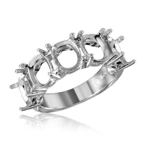 Wholesale Sterling Silver 925 Rhodium Plated Open Shank 5 Stones Mounting Ring - BGR01199