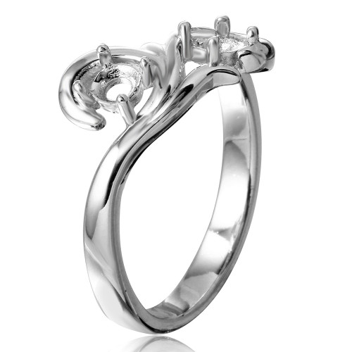 Wholesale Sterling Silver 925 Rhodium Plated Vine Design 2 Stones Mounting Ring - BGR01206