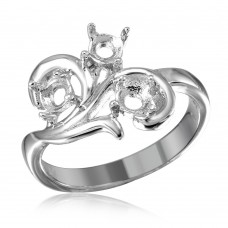 Wholesale Sterling Silver 925 Rhodium Plated Vine Design 3 Stones Mounting Ring - BGR01207