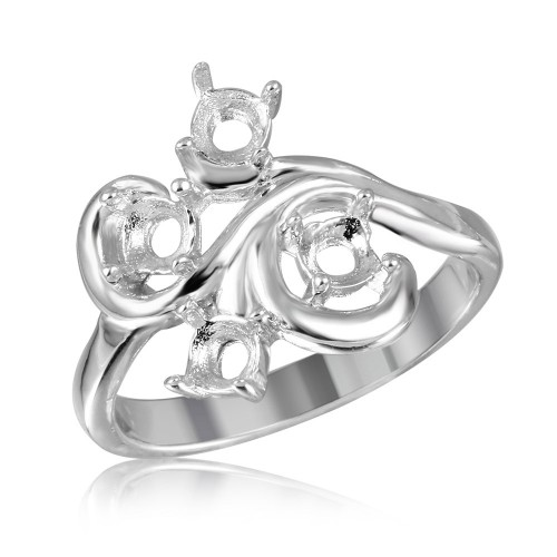 Wholesale Sterling Silver 925 Rhodium Plated Vine Design 4 Stones Mounting Ring - BGR01208