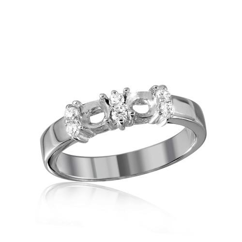 Wholesale Sterling Silver 925 Rhodium Plated 2 Mounting Stone Ring with CZ - BGR01209