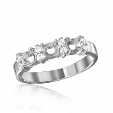Wholesale Sterling Silver 925 Rhodium Plated 3 Mounting Stone Ring with CZ - BGR01210