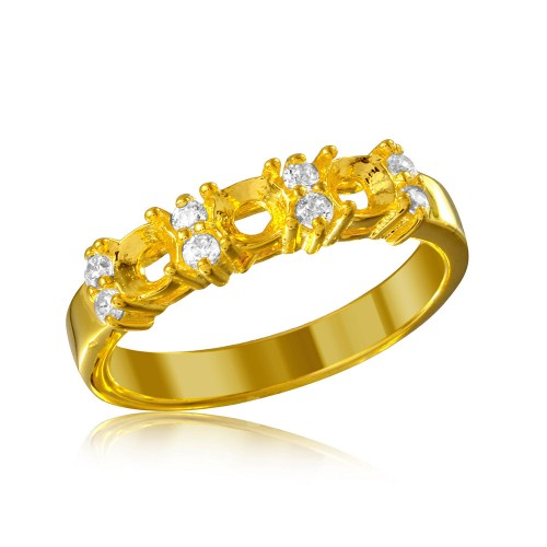 Wholesale Sterling Silver 925 Gold Plated 3 Mounting Stone Ring with CZ - BGR01210GP