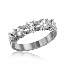 Wholesale Sterling Silver 925 Rhodium Plated 4 Mounting Stone Ring with CZ - BGR01211