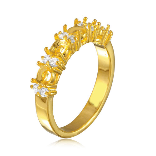 Wholesale Sterling Silver 925 Gold Plated 4 Mounting Stone Ring with CZ - BGR01211GP