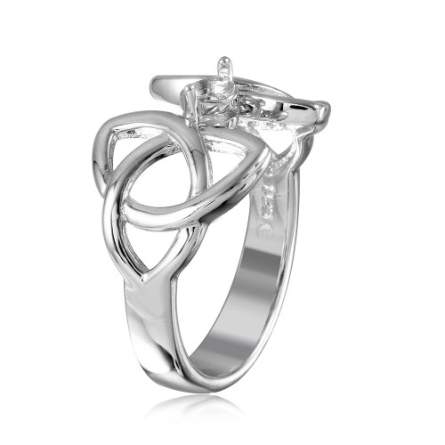 Wholesale Sterling Silver 925 Rhodium Plated Triquetra Shank Single Stone Mounting Ring - BGR01212