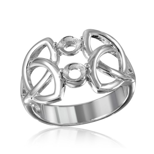 Wholesale Sterling Silver 925 Rhodium Plated Triquetra Shank 2 Stones Mounting Ring - BGR01213