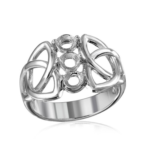 Wholesale Sterling Silver 925 Rhodium Plated Triquetra Shank 3 Stones Mounting Ring - BGR01214
